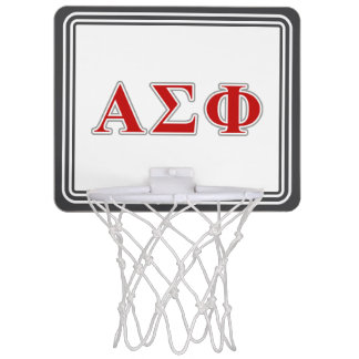 Alpha Sigma Phi Red and Grey Lettes Mini Basketball Backboards
