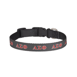 Alpha Sigma Phi Red and Grey Lettes Pet Collar