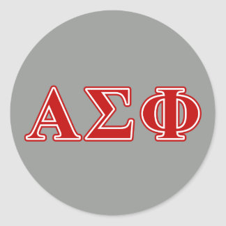 Alpha Sigma Phi Red Letters Round Sticker
