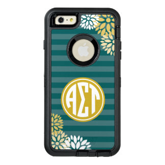 Alpha Sigma Tau | Monogram Stripe Pattern OtterBox Defender iPhone Case
