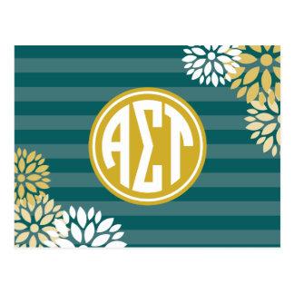 Alpha Sigma Tau | Monogram Stripe Pattern Postcard