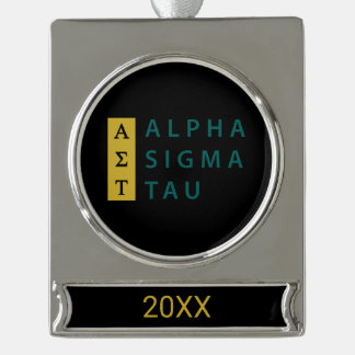 Alpha Sigma Tau Stacked Silver Plated Banner Ornament