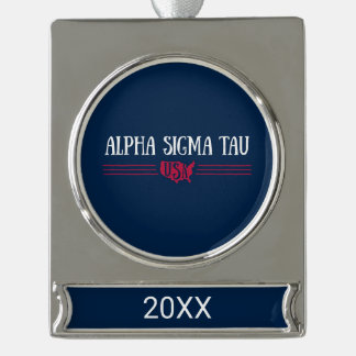 Alpha Sigma Tau USA Silver Plated Banner Ornament