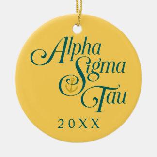 Alpha Sigma Tau Vertical Mark 2 Ceramic Ornament