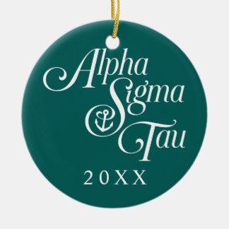 Alpha Sigma Tau Vertical Mark Ceramic Ornament