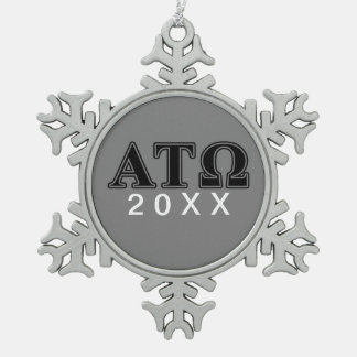 Alpha Tau Omega Black Letters Snowflake Pewter Christmas Ornament