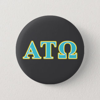 Alpha Tau Omega Blue and Yellow Letters 6 Cm Round Badge