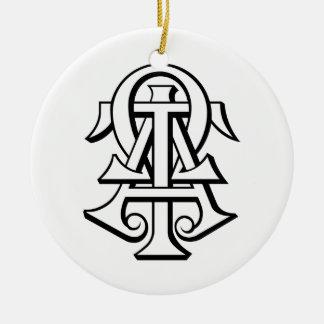 Alpha Tau Omega Interlocked Letters Ceramic Ornament