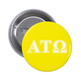 Alpha Tau Omega White and Yellow Letters 6 Cm Round Badge