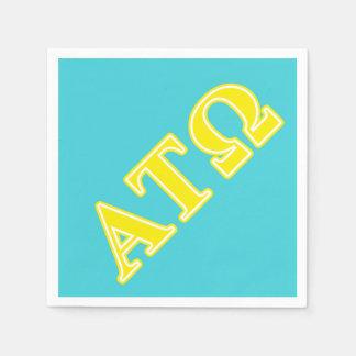 Alpha Tau Omega Yellow Letters Paper Napkin