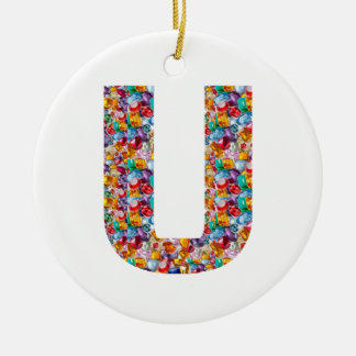 ALPHA uuu vvv www xxx T-shirts Gifts Alphabets fun Double-Sided Ceramic Round Christmas Ornament