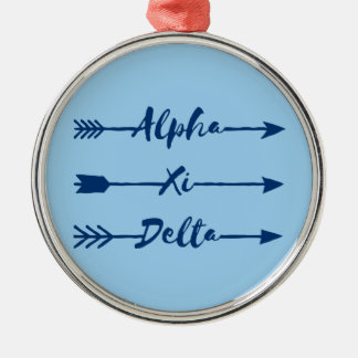Alpha Xi Delta Arrow Metal Ornament