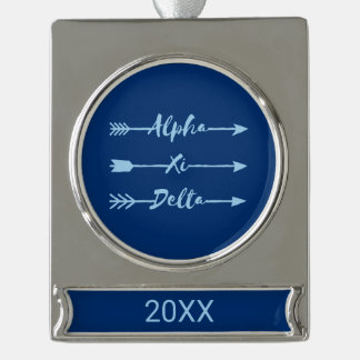 Alpha Xi Delta Arrow Silver Plated Banner Ornament
