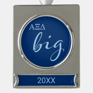 Alpha Xi Delta Big Script Silver Plated Banner Ornament