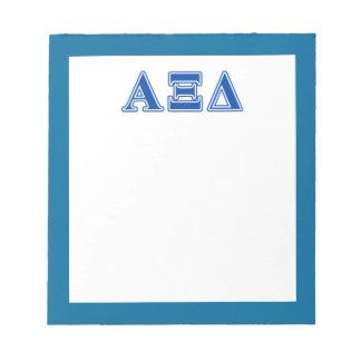 Alpha Xi Delta Blue Letters Notepad