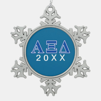 Alpha Xi Delta Blue Letters Snowflake Pewter Christmas Ornament
