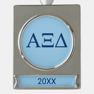Alpha Xi Delta Lil Big Logo Silver Plated Banner Ornament