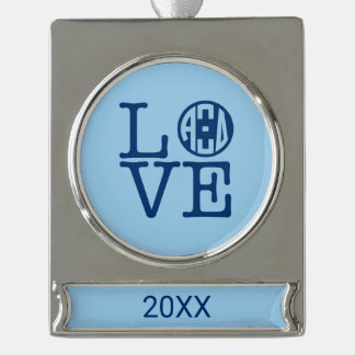 Alpha Xi Delta Love Silver Plated Banner Ornament
