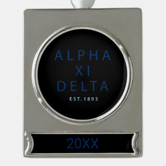 Alpha Xi Delta Modern Type Silver Plated Banner Ornament