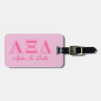 Alpha Xi Delta Pink Letters Luggage Tag