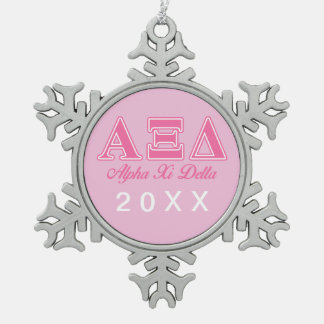 Alpha Xi Delta Pink Letters Snowflake Pewter Christmas Ornament