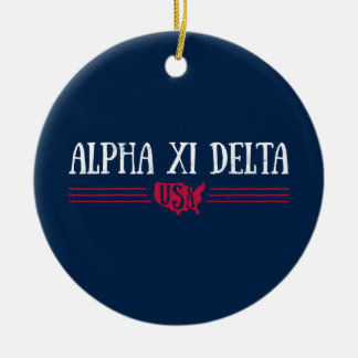 Alpha Xi Delta USA Ceramic Ornament