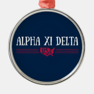 Alpha Xi Delta USA Metal Ornament