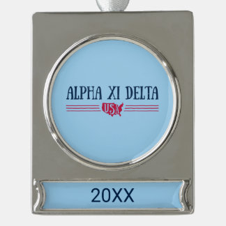 Alpha Xi Delta USA Silver Plated Banner Ornament
