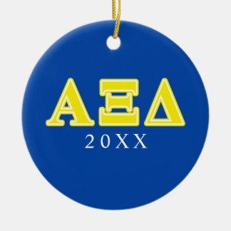 Alpha Xi Delta Yellow Letters Round Ceramic Decoration