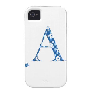 alphabet A with flower pattern blue iPhone 4/4S Case