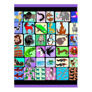 alphabet animals 3 postcard