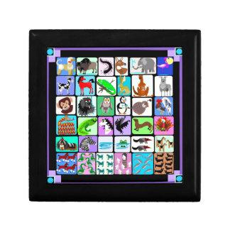 alphabet animals 3 small square gift box