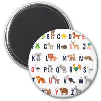 Alphabet Animals - super cute! 6 Cm Round Magnet