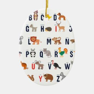 Alphabet Animals - super cute! Ceramic Oval Decoration