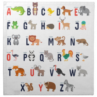 Alphabet Animals - super cute! Napkin