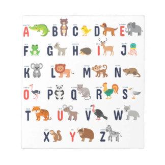 Alphabet Animals - super cute! Notepad