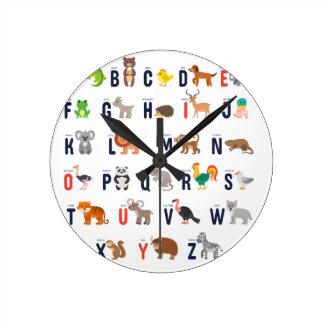Alphabet Animals - super cute! Round Clock