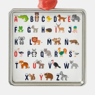Alphabet Animals - super cute! Silver-Colored Square Decoration