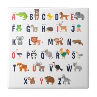 Alphabet Animals - super cute! Small Square Tile