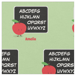 Alphabet Apple with Name   Fabric