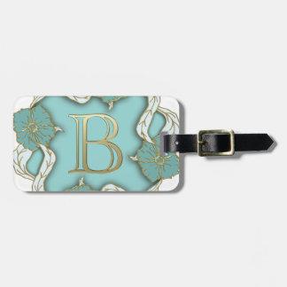 alphabet b monogram luggage tag