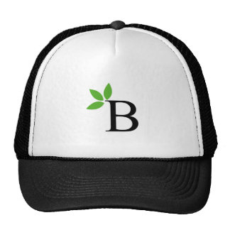 Alphabet B with green leaves Cap