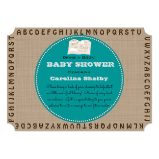 Alphabet Book Worm Bring a Book Baby Shower Card