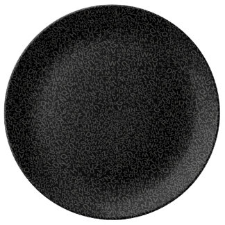 Alphabet Character Letters Black Backgound Pattern Porcelain Plate