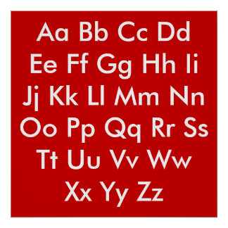 Alphabet chart Red and White