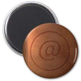 alphabet leather letter @ at 6 cm round magnet