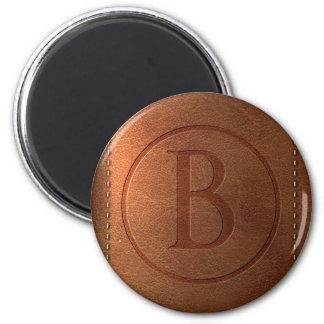 alphabet leather letter B 6 Cm Round Magnet