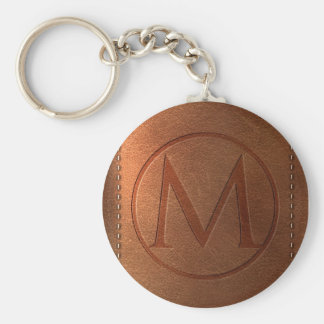 alphabet leather letter M Key Ring