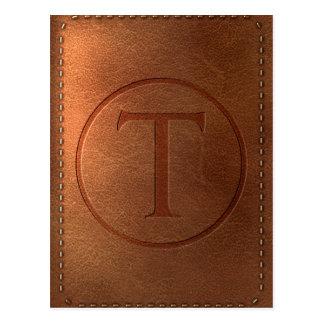 alphabet leather letter T Postcard
