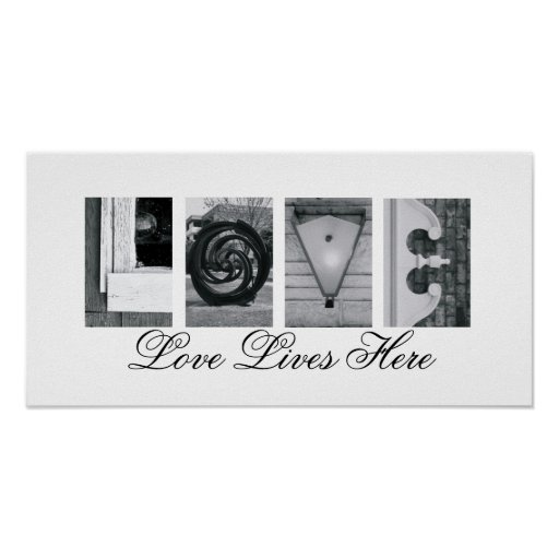Alphabet Letter Photography Love Lives Here 10x20 Poster